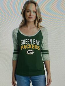 Green Bay Packers NFL Women's Emblem 3/4 Sleeve Tee Shirt Size Large - NWT
