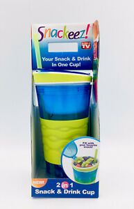 Snackeez 2 In 1 Snack And Drink Cup 16 oz Drink 4 oz Snack Non Slip Grip Ages 8+