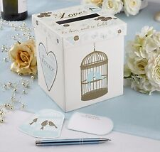 WEDDING WISHES CARDS POST BOX - GUEST BOOK ALTERNATIVE - BIRD AND LOVE HEART