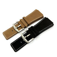 24mm Vintage Suede Leather Watch Thin Long Strap for Bell & Ross B&R BR-01 BR-03