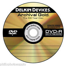 """Delkin Archival Gold DVD-R """"100 Year Disc"""" Scratch Armor Surface - Binder of 10"""