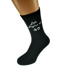 Life Begins at 40 Printed Mens Black Socks 40th Birthday Gift