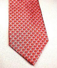 Bill Blass Silk Necktie Tie NEO 100% Silk Geometric Terracotta Red Grey