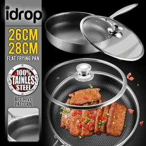 304 Honey Comb surface Stainless Steel Frying Cooking Pan [ 26cm / 28cm ]