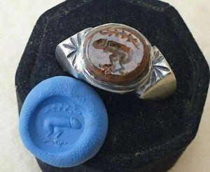 Intaglio Ring natural Jasper Ancient Silver 925 Vintage-Antique ROMAN
