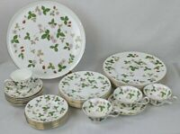 "WEDGWOOD ""WILD STRAWBERRY"" DINNERWARE, PLATES, PLATTER, CUPS, SAUCERS"
