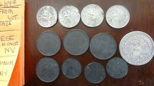 12x lot of WWII coins german,belgium france,from veterans estate.