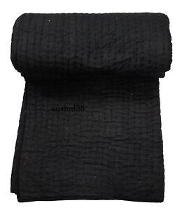 New Kantha Balck Solid Quilt Kantha Blanklet Bedspread Throw Home Decor Kantha Q
