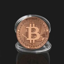 Bitcoin BTC Coin Crypto Currency Collectible Rose Gold Novelty Miner Bit Coin
