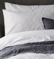 Christy Freya White Single Duvet Set 100% Cotton Sateen With Embroidered Detail