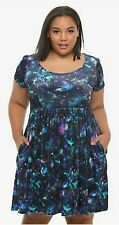 Hot Topic Velvet Galaxy Babydoll Dress size 3 (22/24) NEW with tag blue Stars