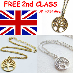 CELTIC SYMBOLIC TREE OF LIFE PENDANT NECKLACE IN BRONZE, GOLD OR SILVER TONE