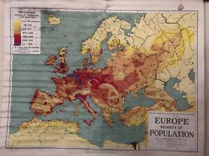 Vintage Pull Down Map CLOTH 1 Layer of Europe Vintage, Salvage, Antique.