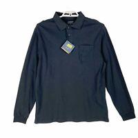 Roundtree & York Mens Polo Shirt Black Silky Cotton Golf Long Sleeve Tall L New