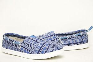 Toms Bimini Blue Sweater Print Shoes 10003556 Youth 4.5, 5, 5.5, 6 Women 6.5~8.