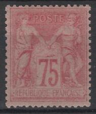 "France Stamp Stamp 81 "" Type Sage 75c Pink 1885 "" New x APC Sign Rare M049"