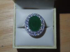 7ct Simulated Emerald Ring w/ CZ Stones - Sterling Silver 925 - Size 7 1/2 - New