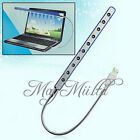 Flexible USB 10 LED Light Lamp Keyboard Reading For Notebook Laptop PC Hot