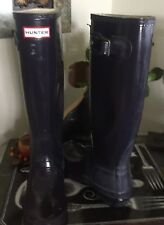 Hunter Hunter  Original Tall Gloss Rain Boots NAVY SIZE 4M 5F