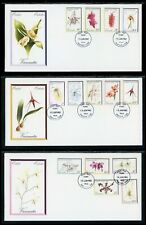 Vanuatu Scott #323-336 FIRST DAY COVERS (3) Orchids Flowers FLORA $$