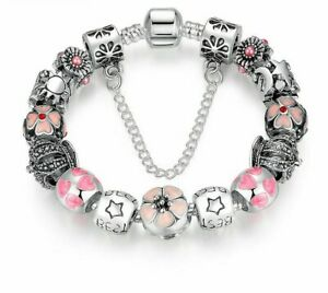 925 SILVER PLATED CHARMS BRACELET W/ FLOWER & HEART BEADS / LENGTH 7.5''