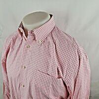 Peter Millar Men Button Front Shirt Sz Medium L/S Check White Pink Cotton A33-05