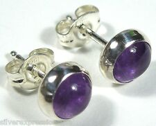 6mm Round Genuine Amethyst 925 Sterling silver stud post earrings - Made in USA