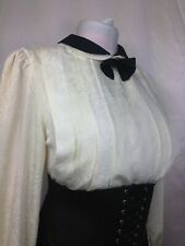 Vintage Pleated Bow Fronted Shiny Secretary Blouse 14 Sissy 38 Chest Mistress TV