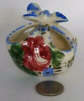 Ceramic mini picnic Basket flower pot Hand Painted ITALY very rare Collectible