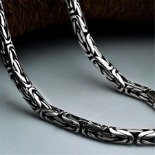 925 Sterling Silver Heavy Mens Byzantine Chain Necklace 6 mm 22 Inch  -103 Grams