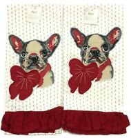 NWT Pier 1 Imports French Bulldog Kitchen Hand Towel Tea Towel Set of 2