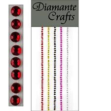 220 x 2mm Mixed Colour Diamante Self Adhesive Strips Rows Rhinestone Craft rr