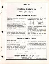 1961 EVINRUDE OUTBOARD MOTOR BIG TWIN 40  H.P. PARTS MANUAL   (087)