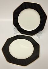 2 Villeroy & Boch Heinrich Black Pearl Salad Plates Bone China