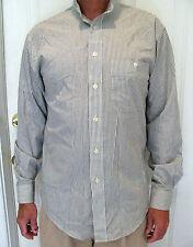 Yves Saint Laurent Men's Shirt Long Sleeve Button Front Gray Stripe 15 34-35