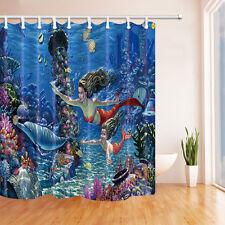 Blue Ocean Animal Dolphin Mermaid Mum&Child Waterproof Bathroom Shower Curtain