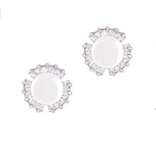 18k Gold Plated White Shell Pearl with Cubic Zirconia Petal Studs Earrings