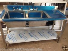 Commercial Catering Kitchen Stainless steel Sink Double bowl Right Hand 1500x600