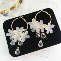 Fashion Women's Ear Drop Earrings Crystal Tassel Dangle Acrylic Flower Jewelry
