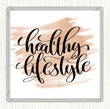 Watercolour Healthy Lifestyle Quote Drinks Mat Coaster