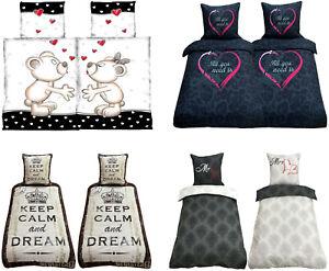 Bettwäsche 135x200 155x220 Bettwaren Bettbezug Microfaser 2 tlg 4 tlg DREAM LOVE