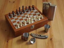 Wood Chess Game Gift Set With 8 oz. Stainless Steel Flask 2 Shot and Wine Opener