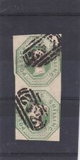 GB QUEEN VICTORIA 1s GREEN EMBOSSED VERTICAL PAIR SG.55 3 to 4 MARGINS NICE USED