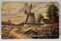 Artist Signed Windmill Country Scene 1908 Postcard B9