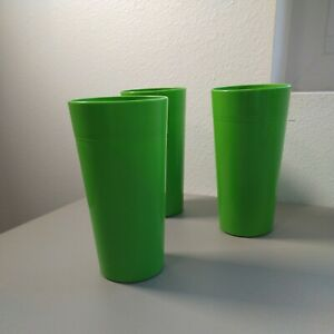 Lot of 3 VTG made in USA LARGE Tumblers Plastic 28 oz Green BRIGHT Stackable