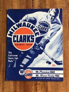 1948/49 Milwaukee Clark's vs Akron Americans IHL Professional Hockey Program