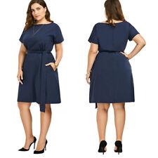 da donna taglie forti abito 2xl-6xl con cintura ad A abito con tasche