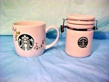 STARBUCKS 2007 COFFEE CANISTER AND CUP 2013 Holiday Collection Ceramic NICE SET