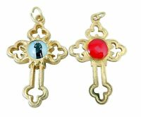 Gold Toned Base Catholic Saint Peregrine Cross with 3rd Class Relic, 1 1/2 Inch