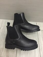 Girls New Black Leather Next Chelsea Boots, Size 10